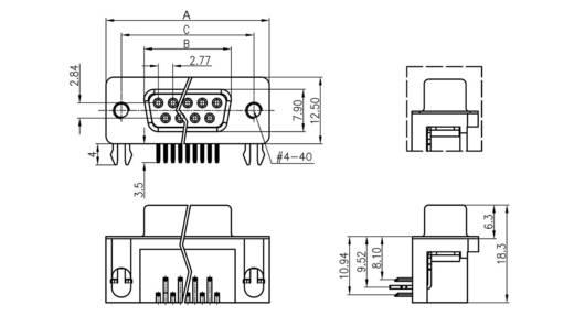 D-SUB hüvelyes kapocsléc 90 °, pólusszám: 9 forrcsúcs, econ connect BU9WB/7G
