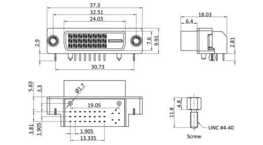 DVI csatlakozó alj, beépíthető, vízszintes, pólusszám: 25, bézs, econ connect DVID