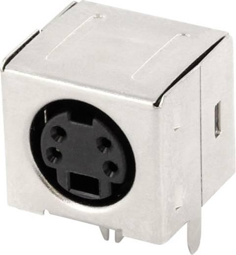 Miniatűr DIN kerek csatlakozó alj, beépíthető, vízszintes, pólusszám: 4, fekete, econ connect MDIOB4G