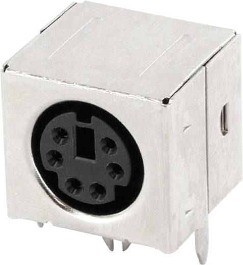 Miniatűr DIN kerek csatlakozó alj, beépíthető, vízszintes, pólusszám: 6, fekete, econ connect MDIOB6G