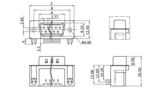 D-SUB tűs kapocsléc 90 °, pólusszám: 15 forrcsúcs, econ connect ST15WB/9G