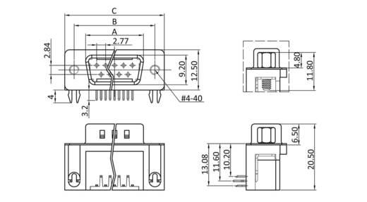 D-SUB tűs kapocsléc 90 °, pólusszám: 37 forrcsúcs, econ connect ST37WB/9