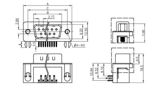 D-SUB tűs kapocsléc 90 °, pólusszám: 9 forrcsúcs, econ connect ST9WB/7