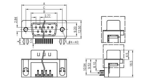 D-SUB tűs kapocsléc 90 °, pólusszám: 9 forrcsúcs, econ connect ST9WB/7G