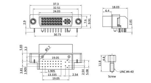 DVI csatlakozó alj, beépíthető, vízszintes, pólusszám: 29, bézs, econ connect DVIAD