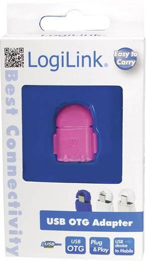 USB - Mikro USB csatlakozó átalakító, OTG funkcióval, rózsaszín LogiLink AA0065