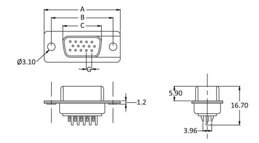 D-SUB hüvelyes kapocsléc 180 °, pólusszám: 15 econ connect BU15HD