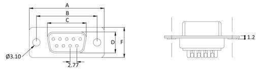 D-SUB hüvelyes kapocsléc 180 °, pólusszám: 25 econ connect BU25LK/V