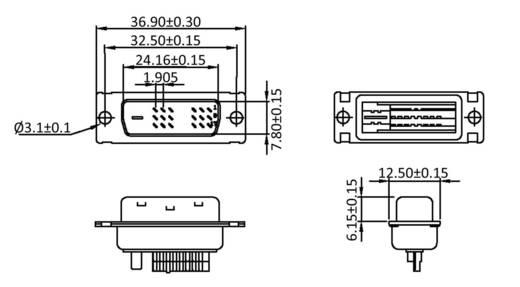 DVI csatlakozó, pólusszám: 25 fekete, econ connect DVI25