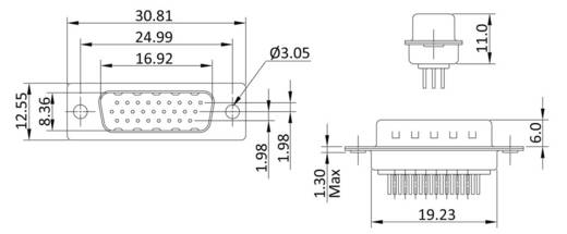 D-SUB tűs kapocsléc 180 °, pólusszám: 15 forrcsúcs, econ connect ST15HDP