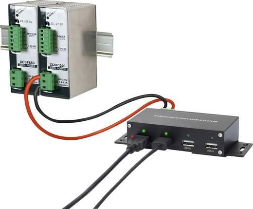 4 portos USB 2.0 hub ipari alkalmazásokhoz, fekete, Renkforce