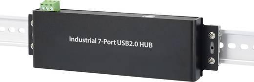7 portos USB 2.0 hub ipari alkalmazásokhoz, fekete, Renkforce