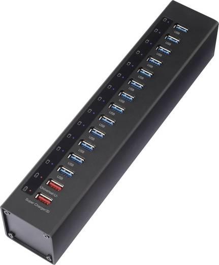 13 portos USB 3.0 alumínium hub, két gyorstöltő porttal, fekete, Renkforce