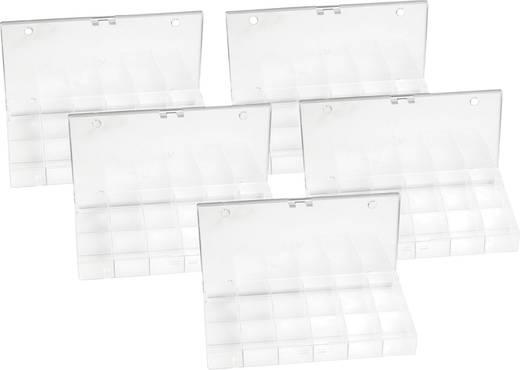 Alkatrésztároló dobozok, 18 rekeszes 5db-os készlet 194 x 31 x 101 mm