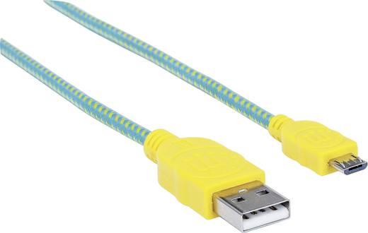 USB – mikro USB lapos adatkábel (1x USB 2.0 dugó A - 1x mikro USB B dugó) 1.8 m zöld/sárga színű Manhattan 352703