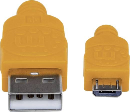 USB – mikro USB lapos adatkábel (1x USB 2.0 dugó A - 1x mikro USB B dugó) 1.8 m narancs/kék színű Manhattan 352727