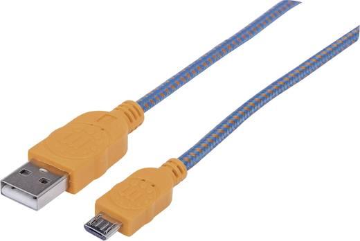 USB – mikro USB lapos adatkábel (1x USB 2.0 dugó A - 1x mikro USB B dugó) 1 m narancs/kék színű Manhattan 352734