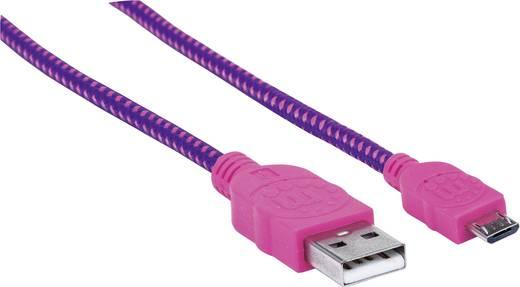 USB – mikro USB lapos adatkábel (1x USB 2.0 dugó A - 1x mikro USB B dugó) 1.8 m rózsaszín/lila színű Manhattan 352741