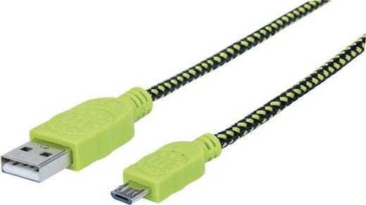 USB – mikro USB lapos adatkábel (1x USB 2.0 dugó A - 1x mikro USB B dugó) 1.8 m zöld/fekete színű Manhattan 352765
