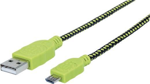 USB – mikro USB lapos adatkábel (1x USB 2.0 dugó A - 1x mikro USB B dugó) 1 m zöld/fekete színű Manhattan 352772