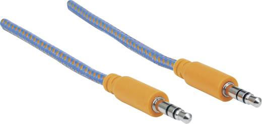 Jack audio kábel, 1x 3,5 mm jack dugó - 1x 3,5 mm jack dugó, 1 m, aranyozott, kék/narancs, fonott, Manhattan