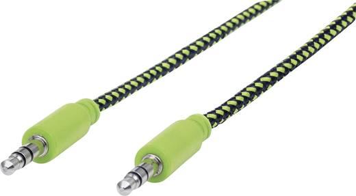 Jack audio kábel, 1x 3,5 mm jack dugó - 1x 3,5 mm jack dugó, 1 m, aranyozott, fekete/zöld, fonott, Manhattan