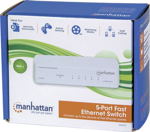 5 portos RJ45 Ethernet hálózati switch, 10 / 100 Mbit/s Intellinet 560672