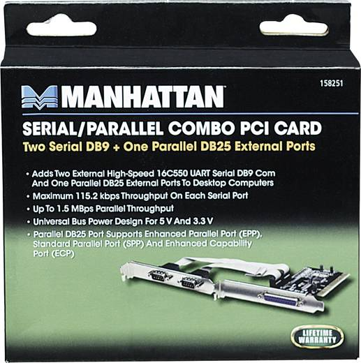 3 portos soros / párhuzamos PCI plug-in kártya Manhattan 158251