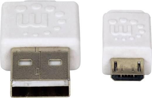 USB – mikro USB lapos adatkábel (1x USB 2.0 dugó A - 1x mikro USB B dugó) 1 m fehér színű Manhattan 391832
