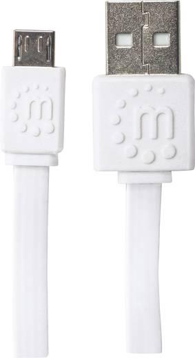 USB – mikro USB lapos adatkábel (1x USB 2.0 dugó A - 1x mikro USB B dugó) 1.8 m fehér színű Manhattan 391849
