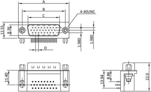 D-SUB tűs kapocsléc, pólusszám: 26 forrcsúcs, econ connect ST26HDW
