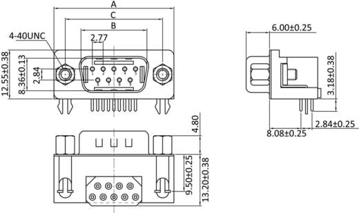 D-SUB tűs kapocsléc, pólusszám: 9 forrcsúcs, econ connect ST7F9GA