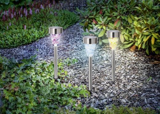 Napelemes, LED-es kerti lámpa készlet, 3 részes, hidegfehér/alu, Esotec Color Dream 102300