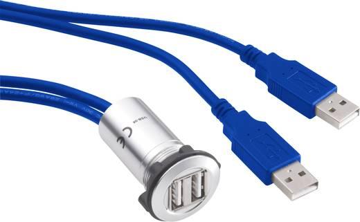 Beépíthető USB aljzat, 2xUSB A alj - 2xUSB A dugó, 60 cm kábel, Conrad USB-13
