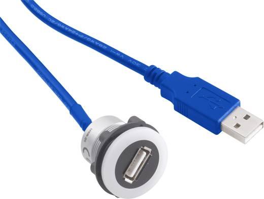 Beépíthető USB aljzat, USB A alj - USB A dugó, 60 cm kábel, Conrad USB-12-BK