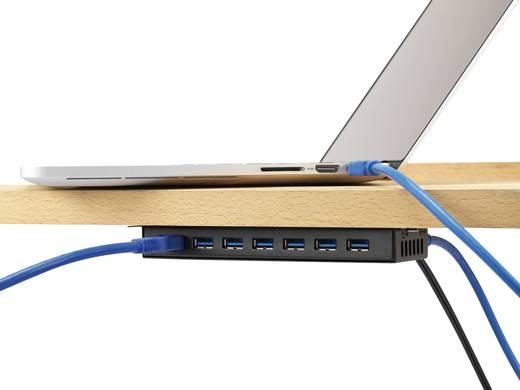 USB 3.0 hub, fém, hálózati adapterrel, 7 portos, Renkforce
