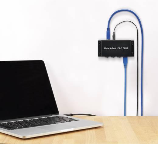USB 3.0 hub, fém, kapcsolható, 4 portos, Renkforce
