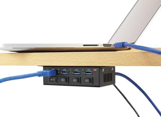4 portos USB 3.0 hub, kapcsolható USB elosztó 5V/3A Renkforce 1318454