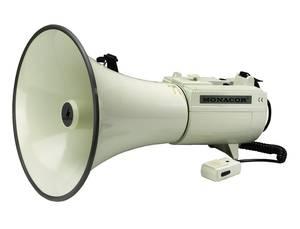 Megafon, kézi mikrofonnal, beépített hangokkal, Monacor TM-45 Monacor