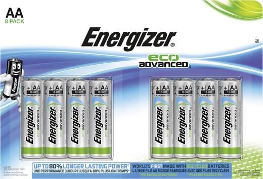 Ceruzaelem AA, alkáli mangán, 1,5V, 8 db, Energizer Eco Advanced LR06, AA, LR6, AAB4E, AM3, 815, E91, LR6N