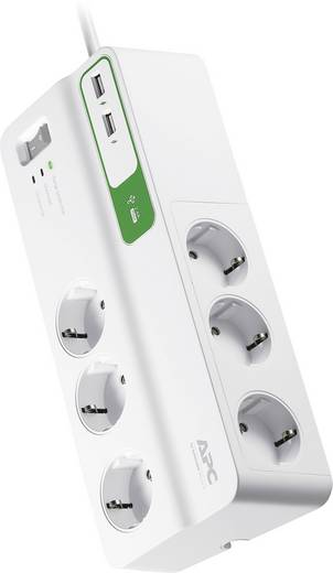 Túlfeszültségvédős hálózati elosztó 6 részes, fehér, APC by Schneider Electric PM6U-GR