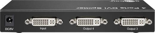 4 port DVI elosztó 1920 x 1080 pixel Goobay DVI 24+5 Splitter 1in/4out Fekete