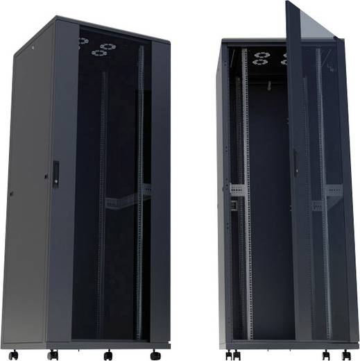"""19""""-os rackszekrény, hálózati szerverszekrény görgőkkel, ajtóval 600 x 778 x 600 mm, fekete 16 HE Intellnet 713061"""