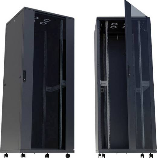"""19""""-os rackszekrény, hálózati szerverszekrény görgőkkel, ajtóval 600 x 1284 x 600 mm, fekete 26 HE Intellnet 713092"""