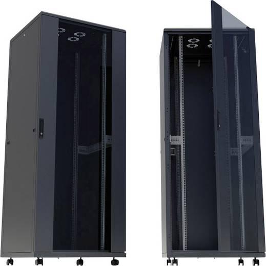 """19""""-os rackszekrény, hálózati szerverszekrény görgőkkel, ajtóval 600 x 1653 x 800 mm, fekete 32 HE Intellnet 713122"""