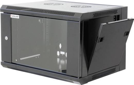 """19""""-os fali rackszekrény, hálózati szerverszekrény, zárható ajtóval 570 x 370 x 450 mm, fekete 6 HE Intellnet 711715"""
