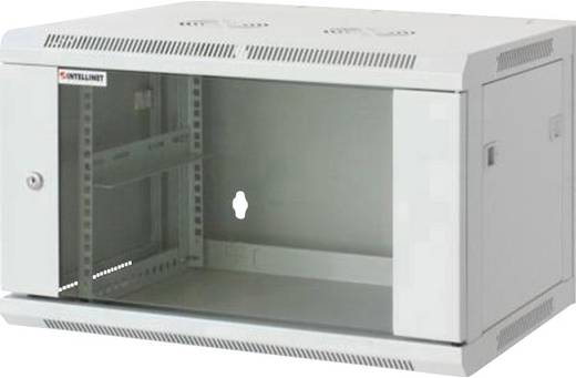 """19""""-os fali rackszekrény, hálózati szerverszekrény, zárható ajtóval 570 x 370 x 450 mm, szürke 6 HE Intellnet 71172"""