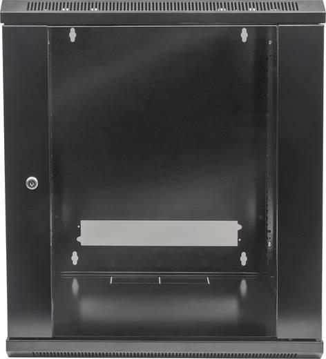 """19""""-os fali rackszekrény, hálózati szerverszekrény, zárható ajtóval 570 x 500 x 450 mm, fekete 9 HE Intellnet 71177"""