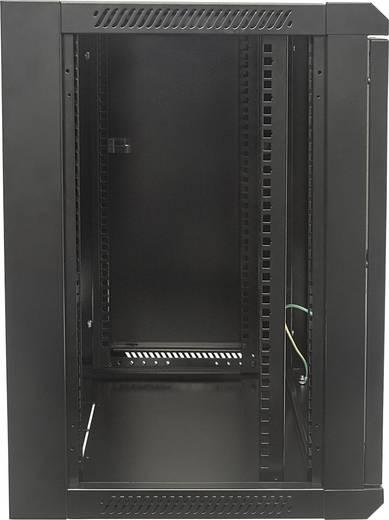 """19""""-os fali rackszekrény, hálózati szerverszekrény, zárható ajtóval 570 x 500 x 450 mm, fekete 9 HE Intellnet 711777"""