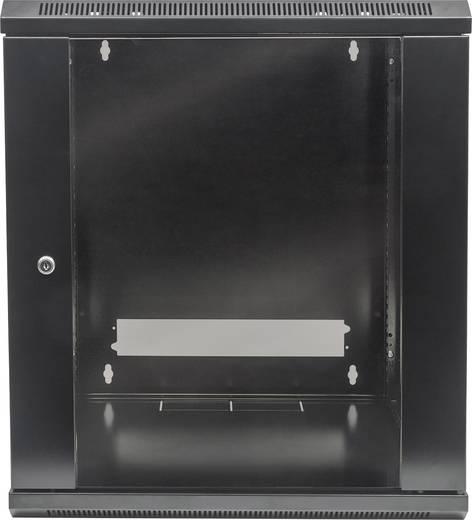 """19""""-os fali rackszekrény, hálózati szerverszekrény, zárható ajtóval 570 x 635 x 450 mm, fekete 12 HE Intellnet 7118"""